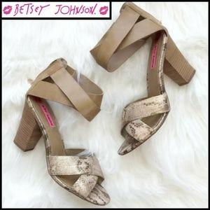 Betsey Johnson Leather Snakeskin Stacked Heels